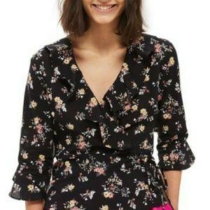 Floral wrap around blouse